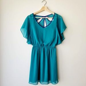 Express | Flutter Sleeve Open Petal Back Dress